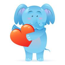 Elephant Pet Isolated Holding Heart