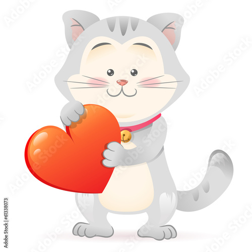 Printed kitchen splashbacks Cats Cat pet isolated holding heart