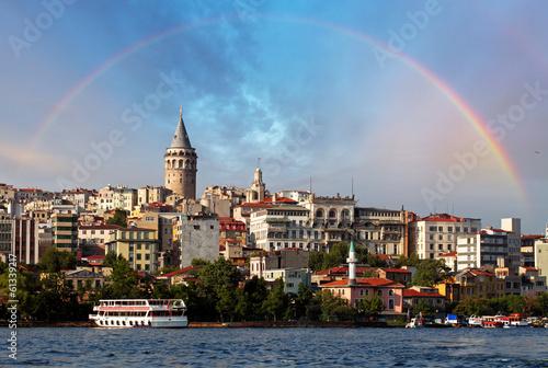 Poster  Istanbul bei Sonnenuntergang - Galata Bezirk, Türkei