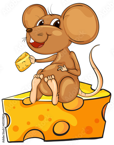 Deurstickers Babykamer A mouse sitting above a cheese