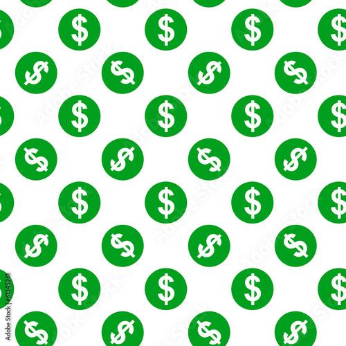 Fotografia, Obraz  Dollar sign seamless pattern on white background