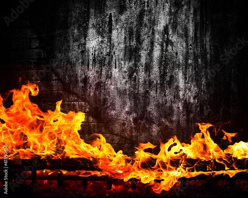 fototapeta na lodówkę Ogień w kominku