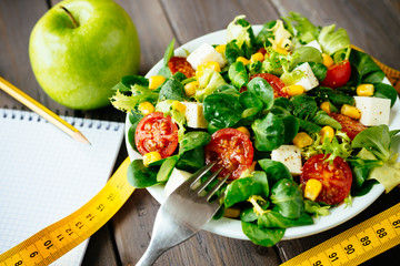 Healthy fitness green salad