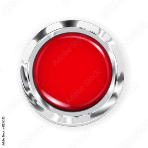 Photo  Big red button with metallic border