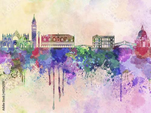 Nowoczesny obraz na płótnie Venice skyline in watercolor background