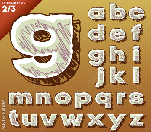 Sketch alphabet. Hand drawing font. Bold extended style