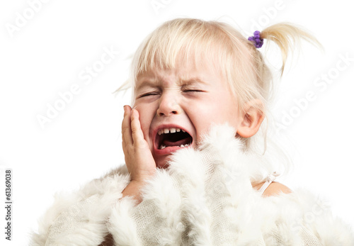 Little girl screaming over white background Canvas-taulu