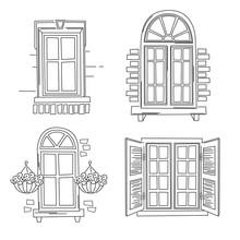 Set Of Retro Windows On White Background