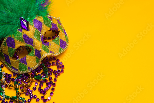 Canvas Prints Carnaval Colorful Mardi Gras or venetian mask on yellow