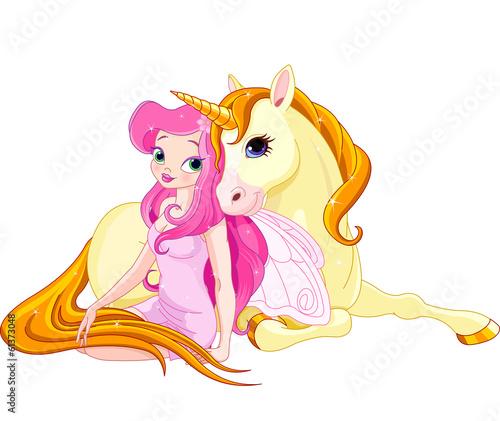 Canvas Prints Fairytale World Fairy and Unicorn
