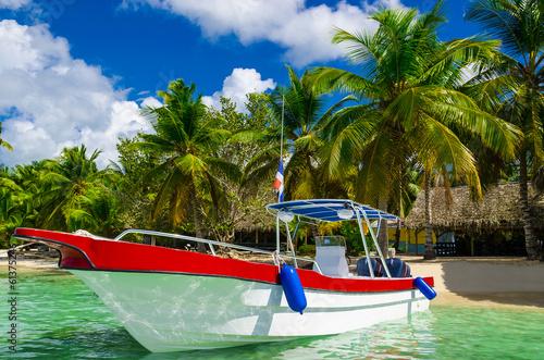 Fotografie, Obraz  Boat on azure water, holidays, Sanoa,  Dominican Republic