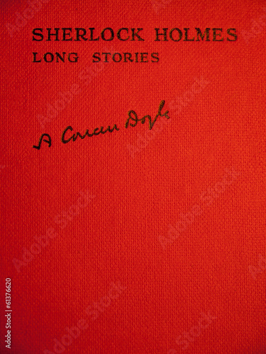 Valokuva  red front cover of conan doyles sherlock holmes long stories