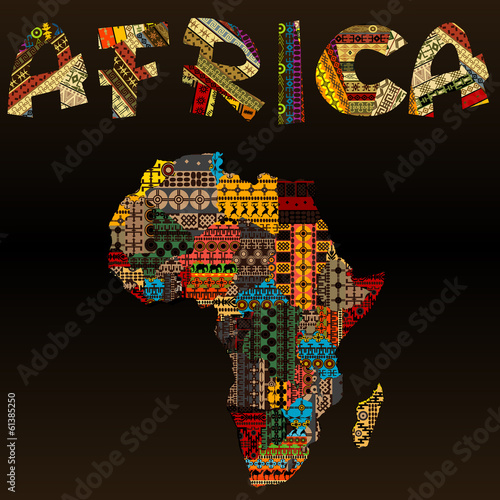 Fototapeta Africa map with African typography made of patchwork fabric text