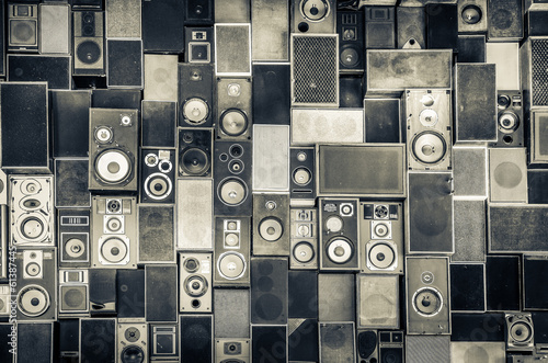 Fototapeta Music speakers on the wall in monochrome vintage style obraz