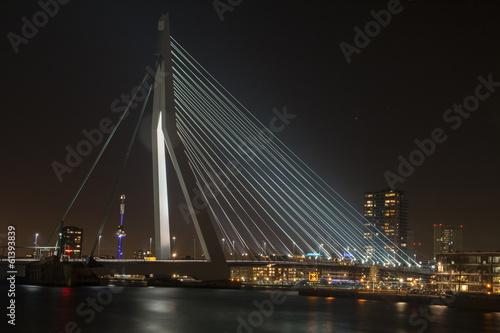 Staande foto Rotterdam Erasmusbridge by night in Rotterdam.
