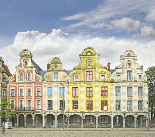 Tuinposter Zwavel geel Arras France Flemish style buildings, main square of Grand Place