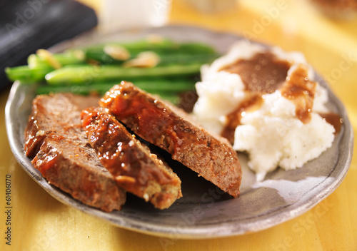 meatloaf with greenbeans and mashed potatoes Canvas Print