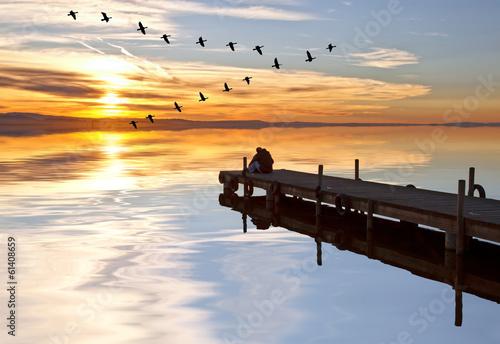 Foto auf AluDibond Pier vacaciones en el lago azul