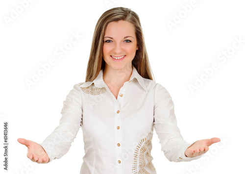 Stampa su Tela  young woman shows sign and symbol by hands on white background