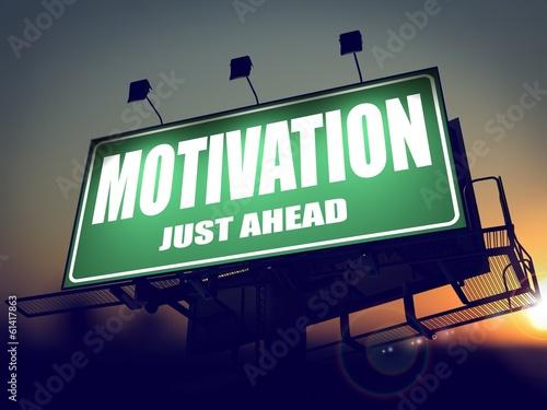Motivation - Billboard on the Sunrise Background.