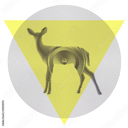 Vector deer in tiangle and circle