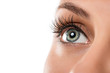 Leinwandbild Motiv Close up of natural female eye isolated on white background