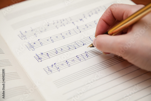 Cuadros en Lienzo Hand with pen and music sheet