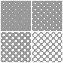 Seamless Vector White Polka Dots Grey Pattern Background Set