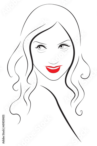 Young beautiful woman portrait with red lips - Buy this