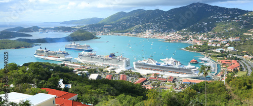 Fotografia, Obraz  St Thomas harbor of US virgin islands