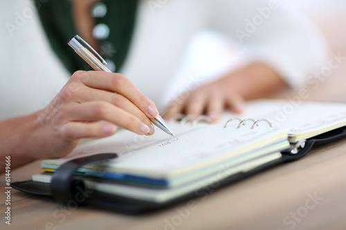 Closeup of woman's hand writing on agenda Wallpaper Mural