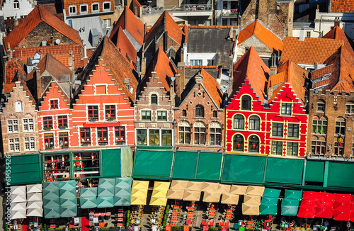 Tuinposter Brugge Aerial view of colorful square and houses in Bruges