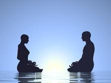 Couple Meditation - 3D Render