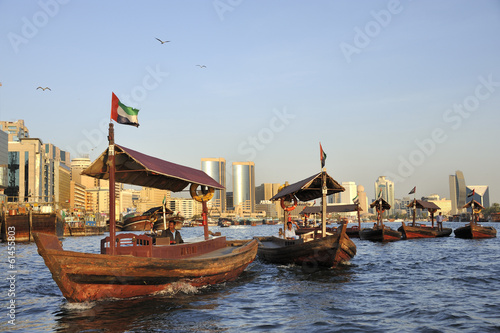 Printed kitchen splashbacks Middle East View of Deira quarter from Dubai creek with abra's or water taxi