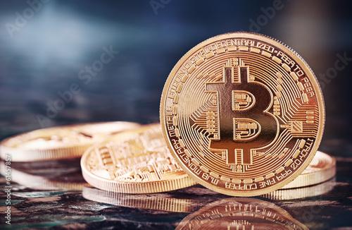 Photo Golden Bitcoins (new virtual money ) Wallpaper Mural