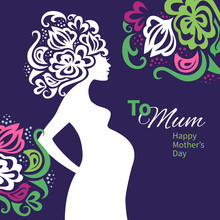 Pregnant Woman Silhouette With Floral Background