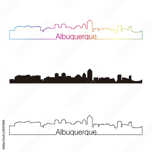 Photo Albuquerque skyline linear style with rainbow