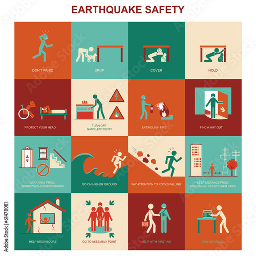 Earthquake safety procedure Canvas Print