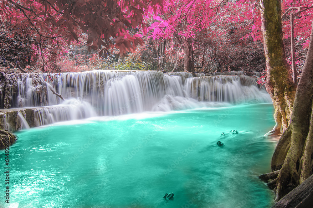 Fototapeta Deep forest Waterfall in Kanchanaburi