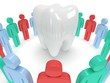 Colored people around tooth. 3D render.
