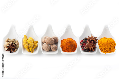 Printed kitchen splashbacks Spices Assorted spices. Сurry, paprika, nutmeg, cinnamon