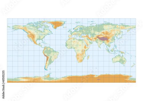 Fototapeta mapa fizyczna-mapa-swiata