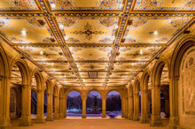 Renovated Bethesda Arcade And Fountain In Central Park, New York