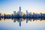 Fototapeta Nowy York - Manhattan Skyline with the One World Trade Center building at tw