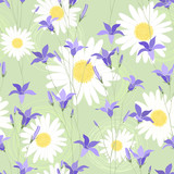Seamless pattern with camomiles and bellflower