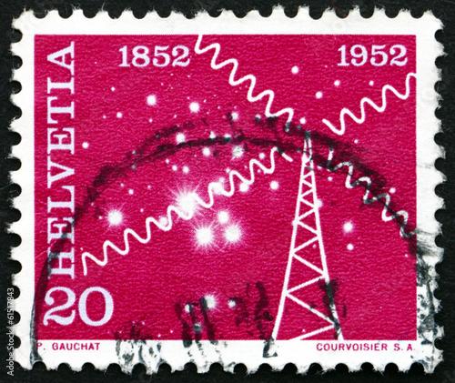 Fotografie, Obraz  Postage stamp Switzerland 1952 Symbolical of the Radio