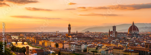 Fototapeta Panoramic view of the Florence city during golden sunset