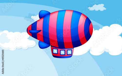 Papiers peints Avion, ballon A stripe-colored airship in the sky