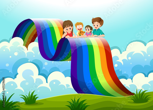 A family above the rainbow