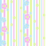 Seamless floral pattern on striped